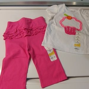 Pink pant and cupcake shirt set